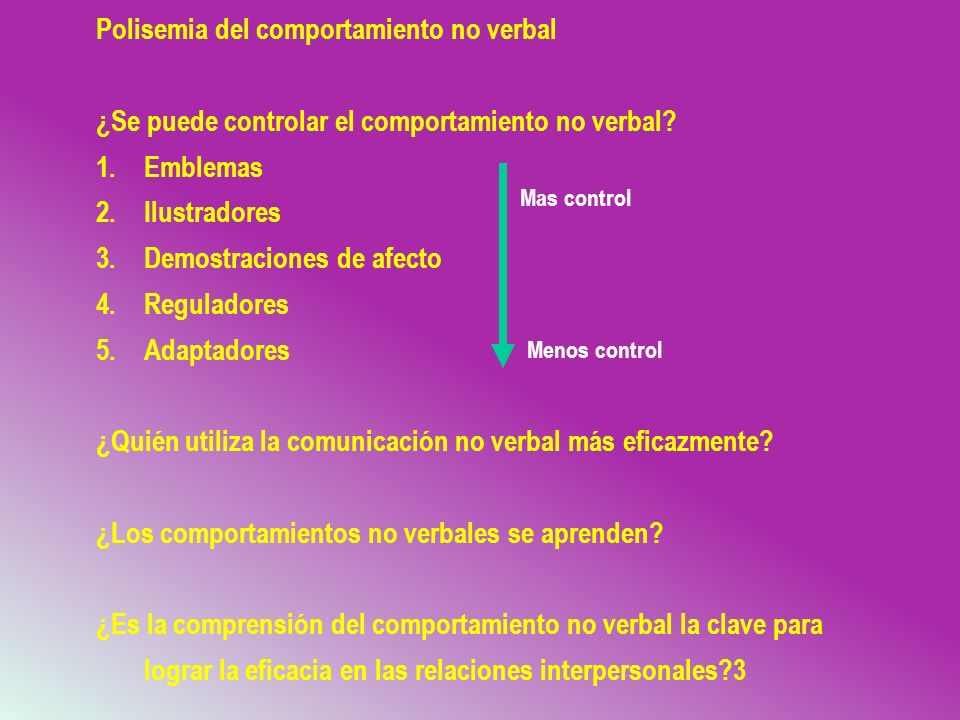 Polisemia del comportamiento no verbal
