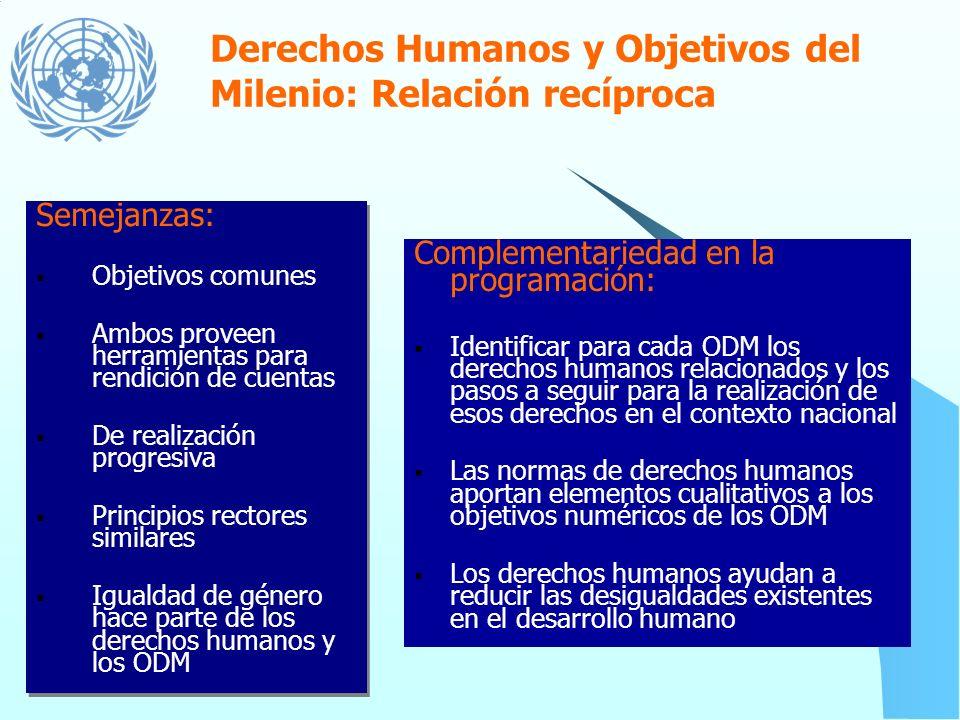 Derechos Humanos y Objetivos del Milenio: Relación recíproca