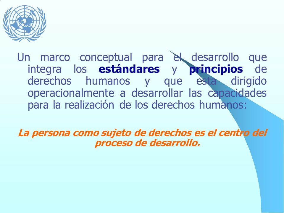 Un marco conceptual para el desarrollo que integra los estándares y principios de derechos humanos y que esta dirigido operacionalmente a desarrollar las capacidades para la realización de los derechos humanos: