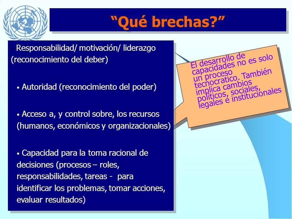 Qué brechas Responsabilidad/ motivación/ liderazgo (reconocimiento del deber) Autoridad (reconocimiento del poder)