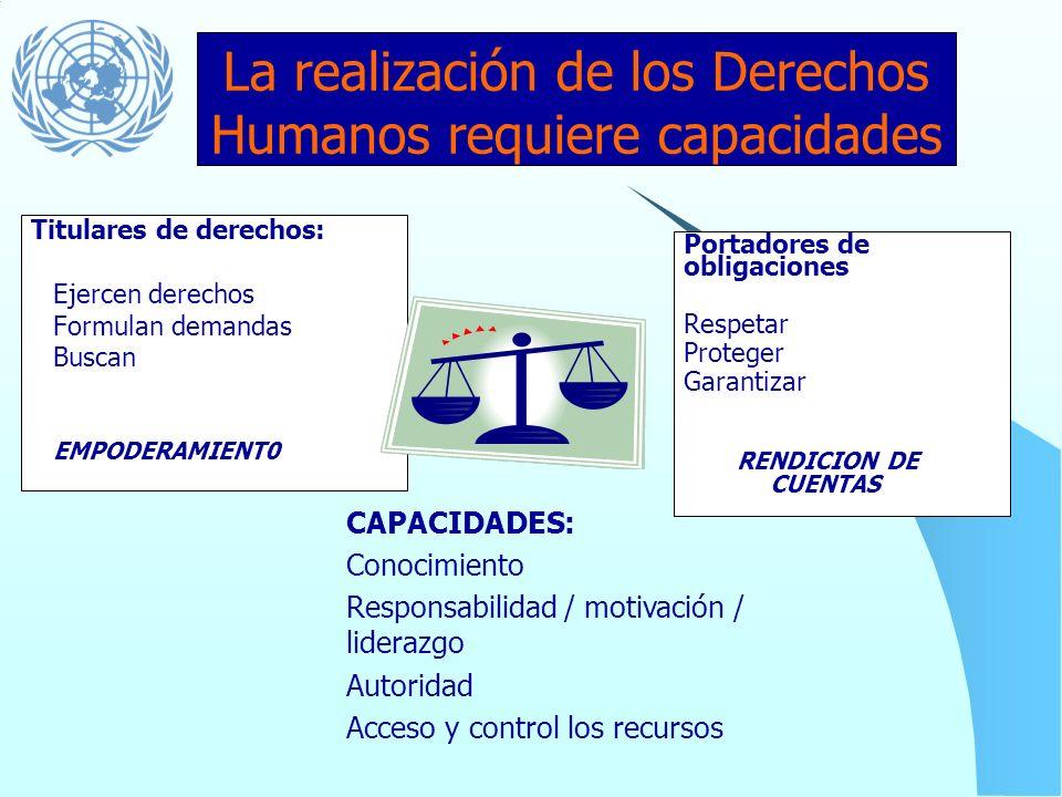 La realización de los Derechos Humanos requiere capacidades