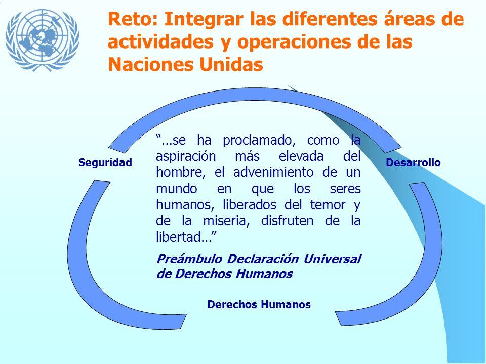 Reto: Integrar las diferentes áreas de actividades y operaciones de las Naciones Unidas