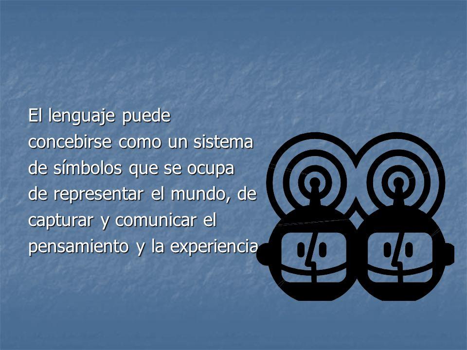 El lenguaje puedeconcebirse como un sistema. de símbolos que se ocupa. de representar el mundo, de.