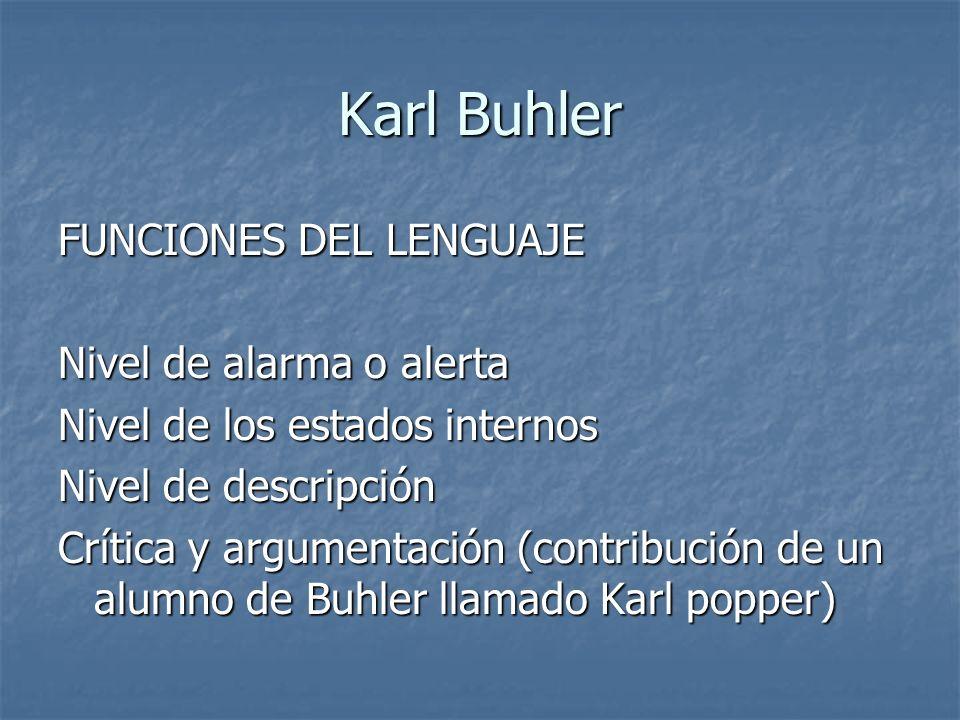 Karl Buhler FUNCIONES DEL LENGUAJE Nivel de alarma o alerta