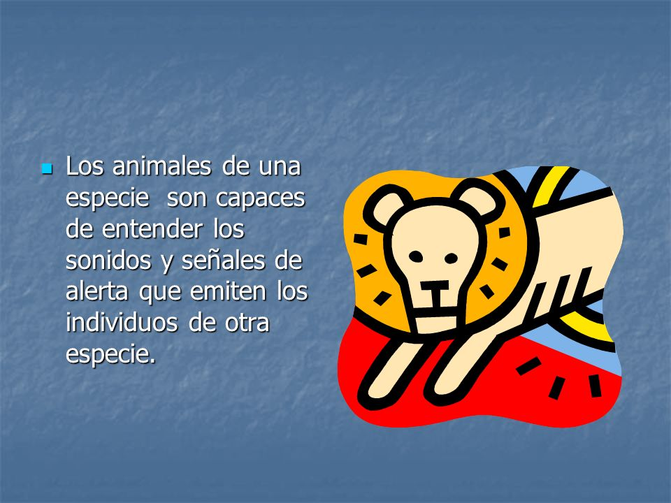 Los animales de una especie son capaces de entender los sonidos y señales de alerta que emiten los individuos de otra especie.
