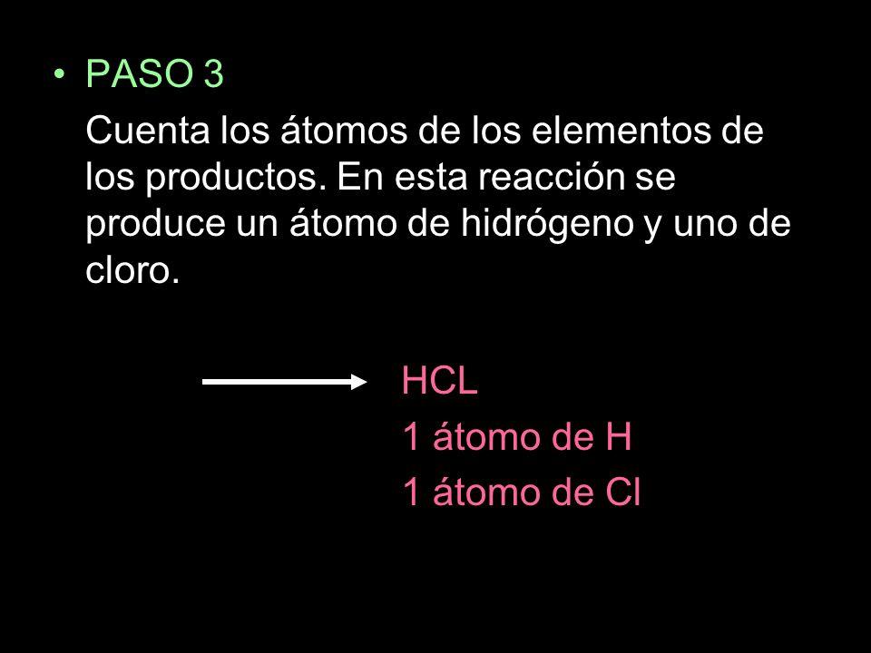PASO 3 Cuenta los átomos de los elementos de los productos. En esta reacción se produce un átomo de hidrógeno y uno de cloro.