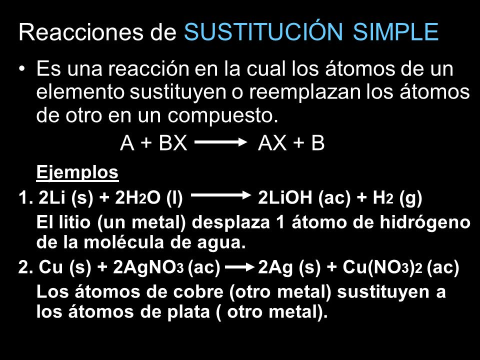 Reacciones de SUSTITUCIÓN SIMPLE