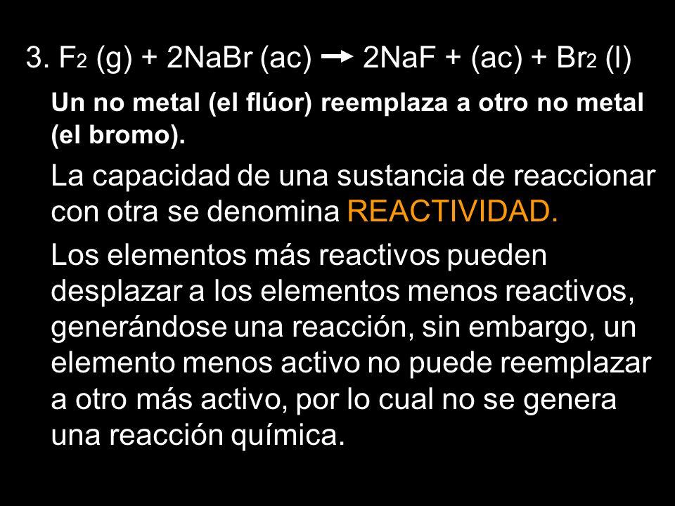 3. F2 (g) + 2NaBr (ac) 2NaF + (ac) + Br2 (l)