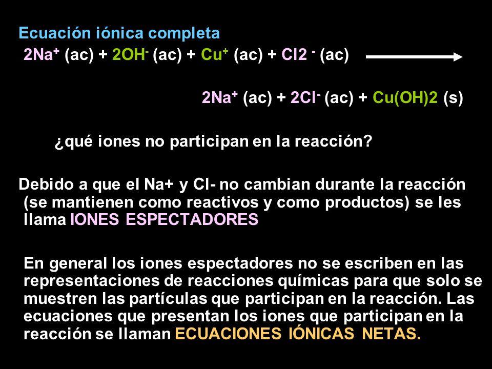 Ecuación iónica completa