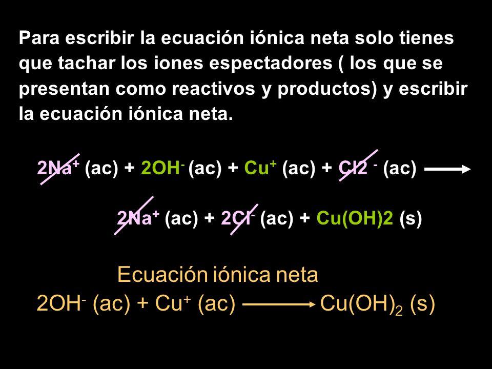 2OH- (ac) + Cu+ (ac) Cu(OH)2 (s)