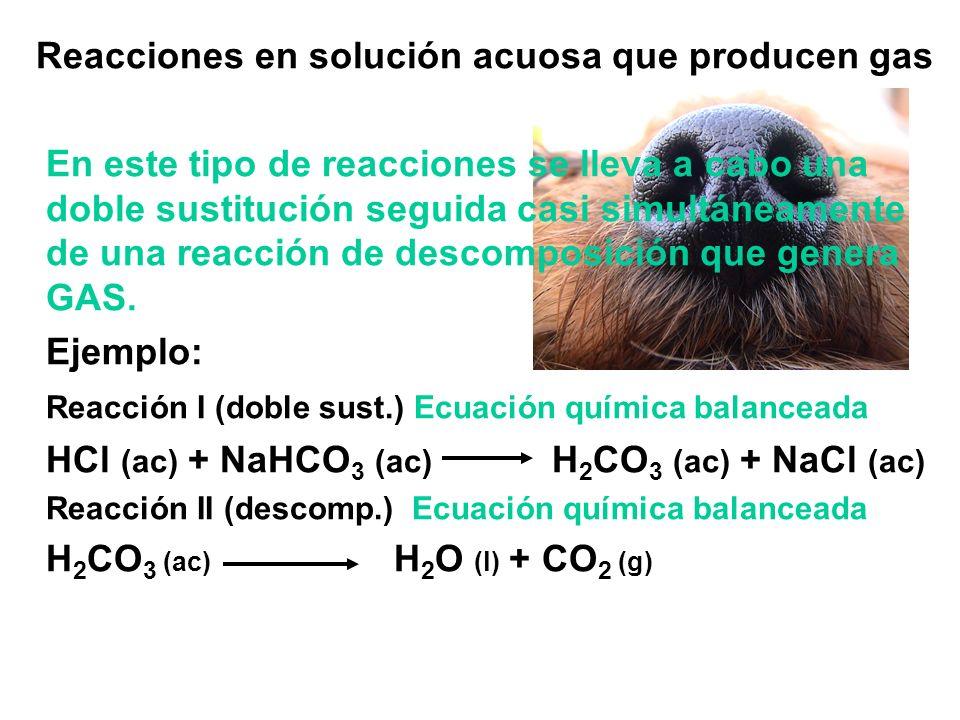 Reacciones en solución acuosa que producen gas