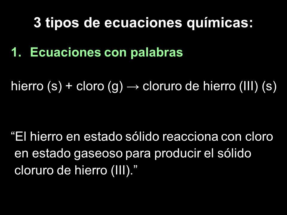 3 tipos de ecuaciones químicas: