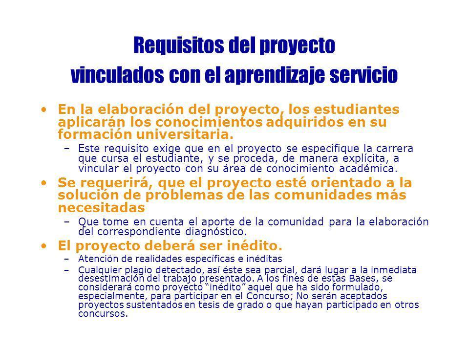 Requisitos del proyecto vinculados con el aprendizaje servicio