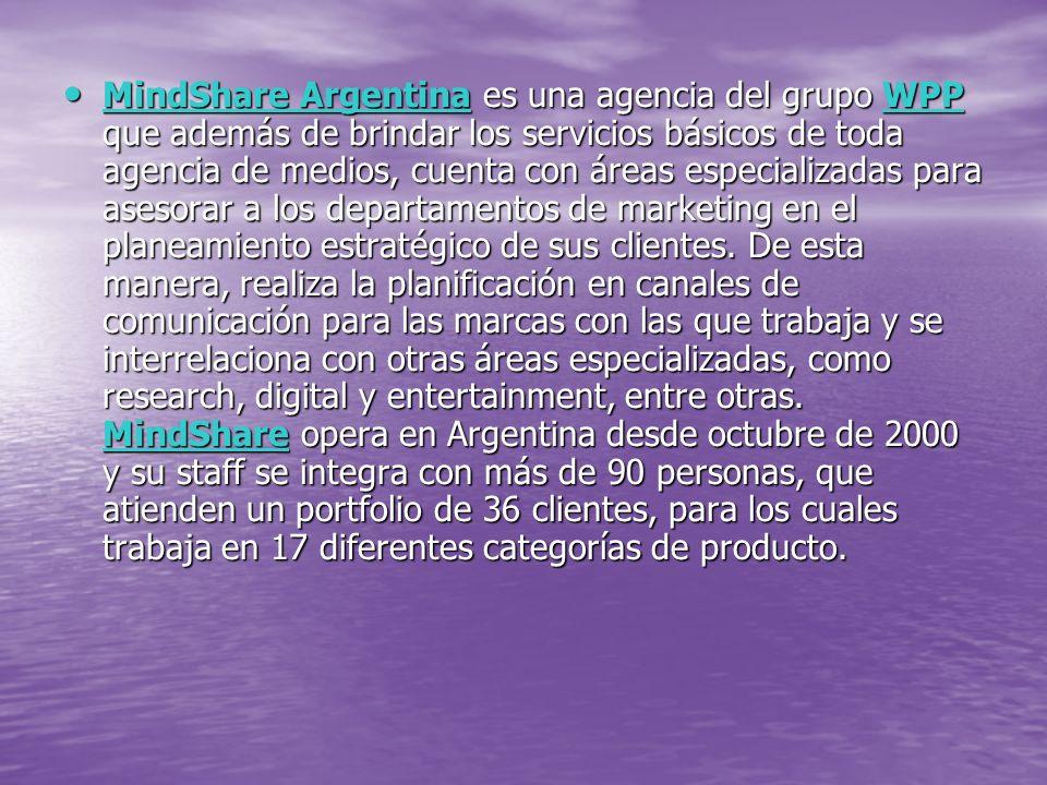 MindShare Argentina es una agencia del grupo WPP que además de brindar los servicios básicos de toda agencia de medios, cuenta con áreas especializadas para asesorar a los departamentos de marketing en el planeamiento estratégico de sus clientes.