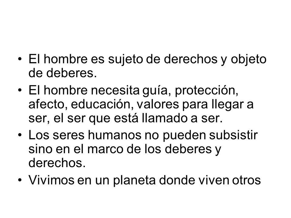 El hombre es sujeto de derechos y objeto de deberes.