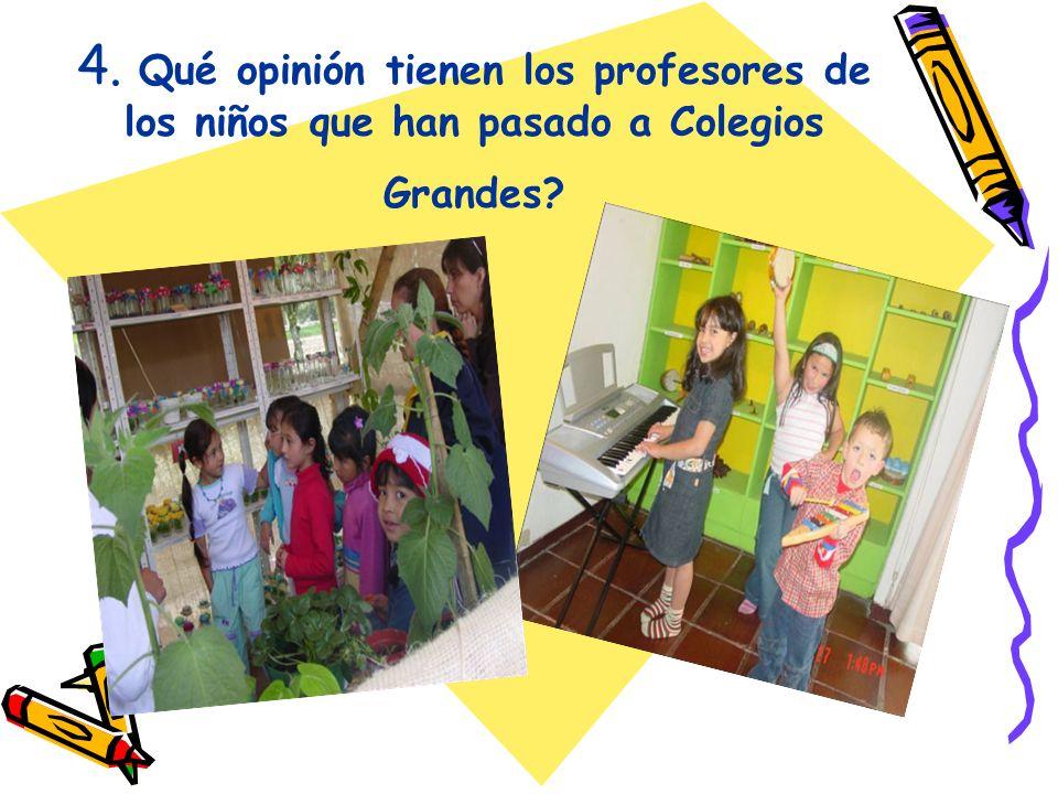 4. Qué opinión tienen los profesores de los niños que han pasado a Colegios Grandes
