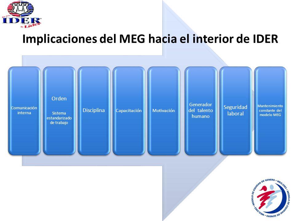 Implicaciones del MEG hacia el interior de IDER