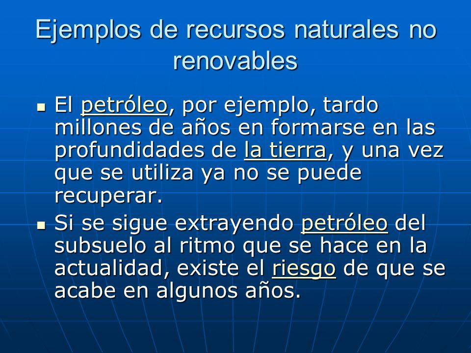 Ejemplos de recursos naturales no renovables