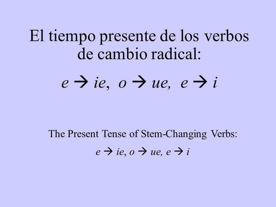 El tiempo presente de los verbos de cambio radical: