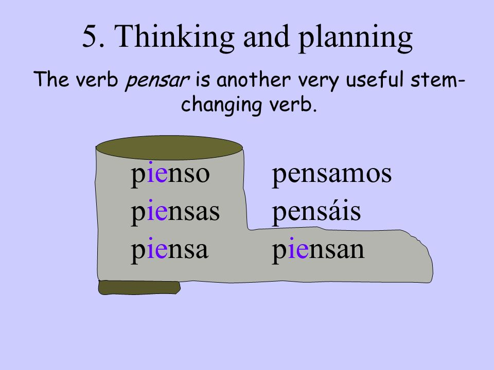 The verb pensar is another very useful stem-changing verb.