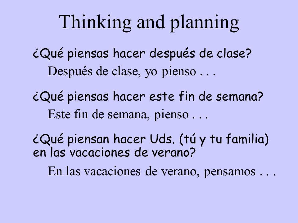 Thinking and planning Después de clase, yo pienso . . .