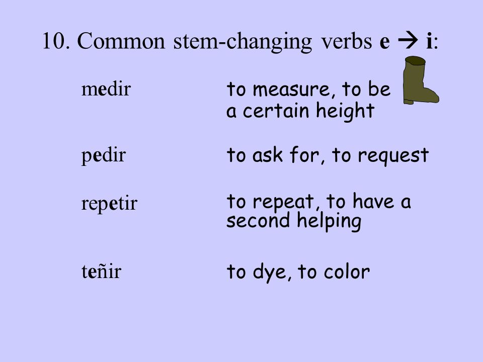 10. Common stem-changing verbs e  i: