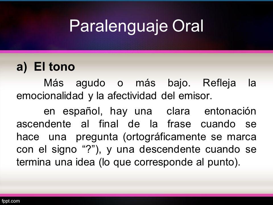 Paralenguaje Oral a) El tono