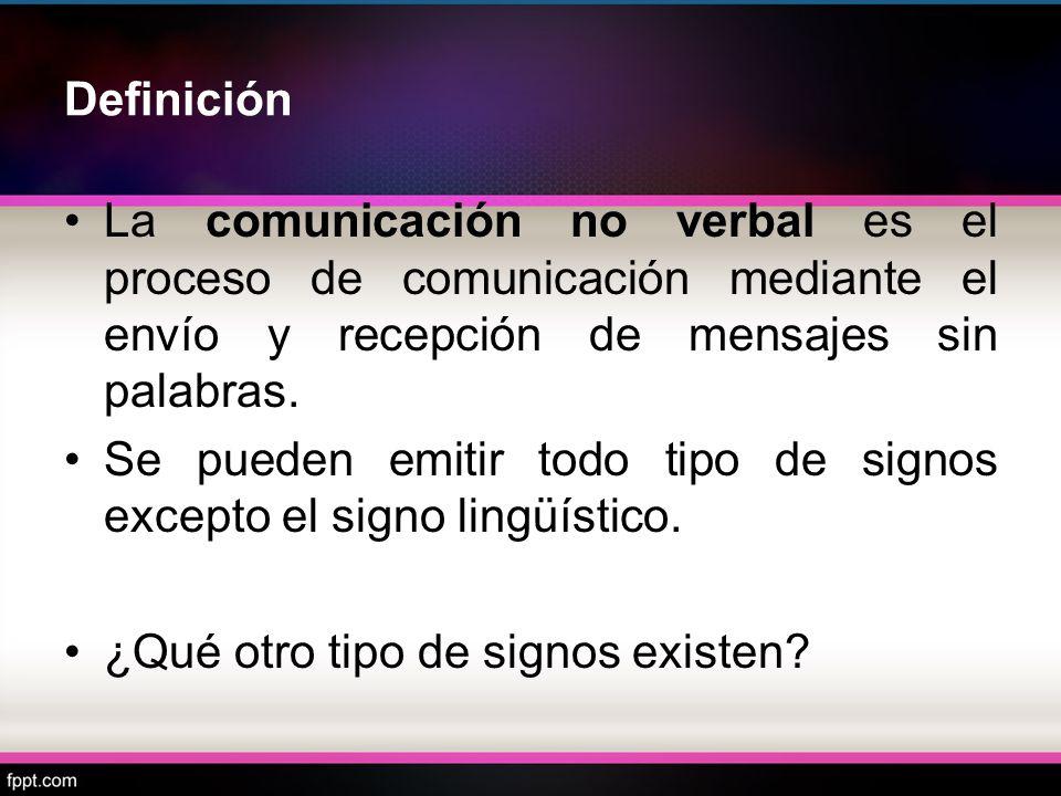 Definición La comunicación no verbal es el proceso de comunicación mediante el envío y recepción de mensajes sin palabras.