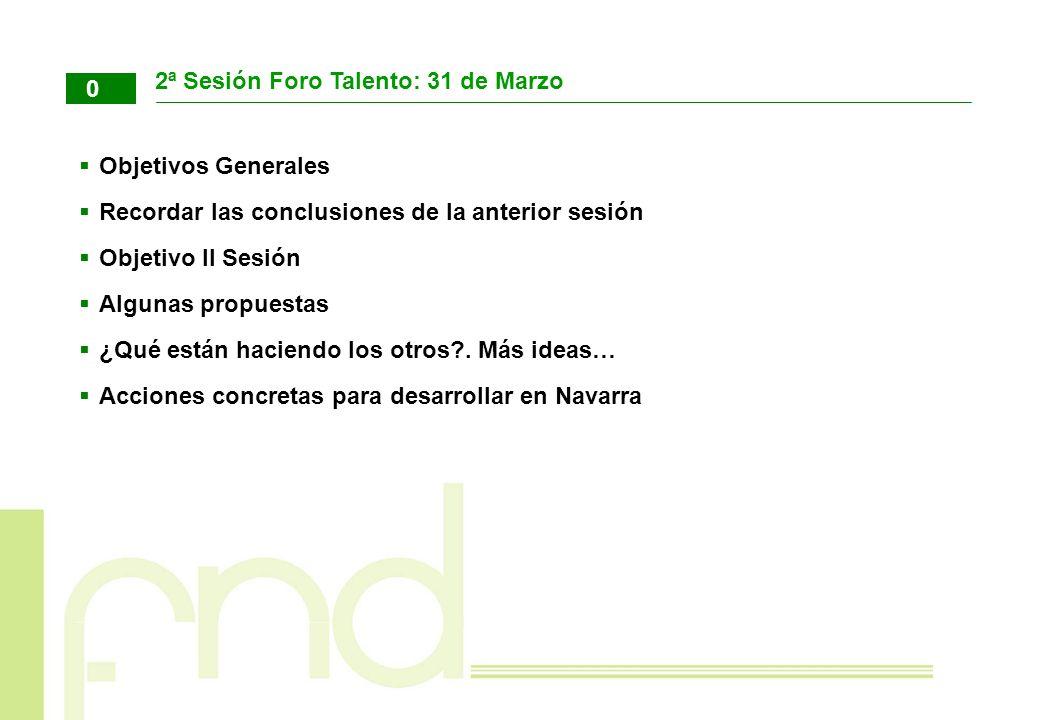 2ª Sesión Foro Talento: 31 de Marzo Objetivos Generales. Recordar las conclusiones de la anterior sesión.