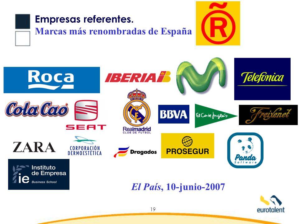 Empresas referentes. Marcas más renombradas de España El País, 10-junio-2007