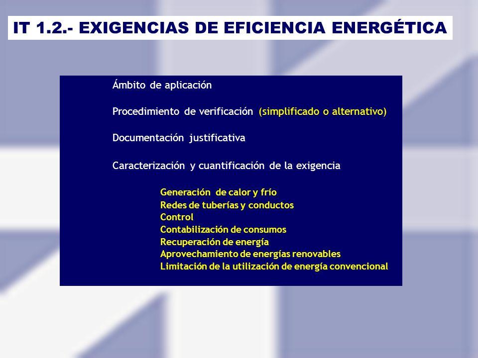 IT 1.2.- EXIGENCIAS DE EFICIENCIA ENERGÉTICA