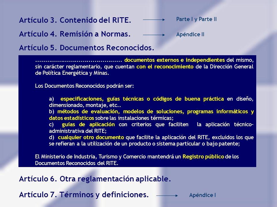 Artículo 3. Contenido del RITE.