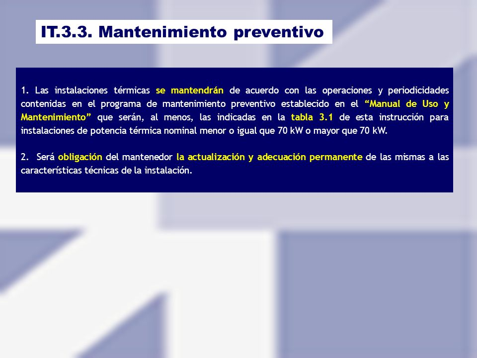 IT.3.3. Mantenimiento preventivo