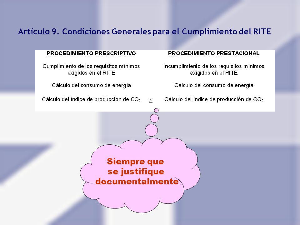 Artículo 9. Condiciones Generales para el Cumplimiento del RITE