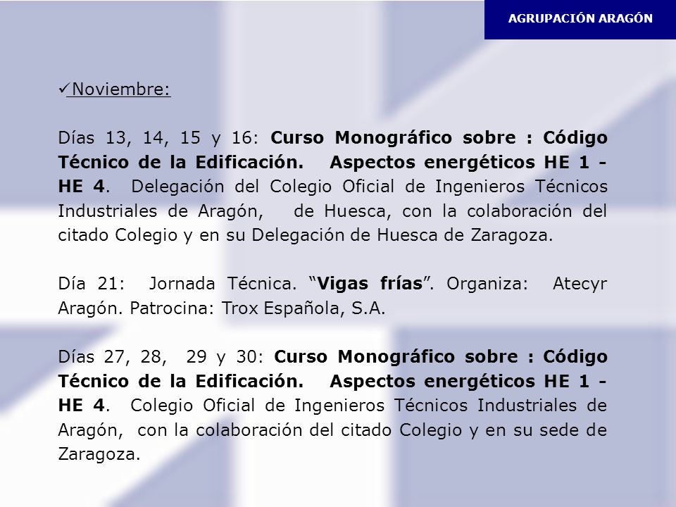 AGRUPACIÓN ARAGÓN Noviembre: