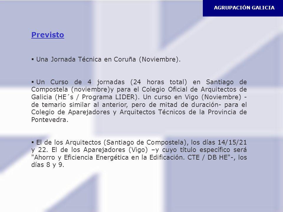 Previsto Una Jornada Técnica en Coruña (Noviembre).