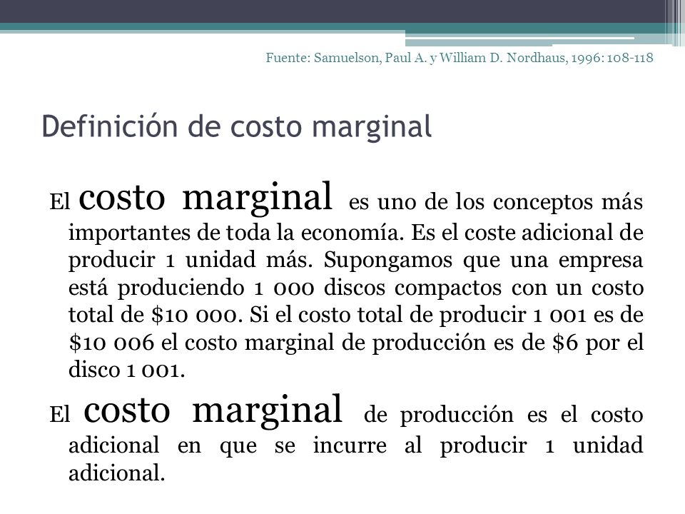 Definición de costo marginal