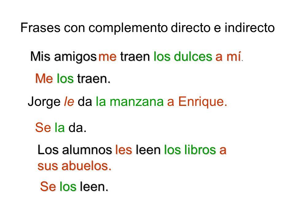 Frases con complemento directo e indirecto