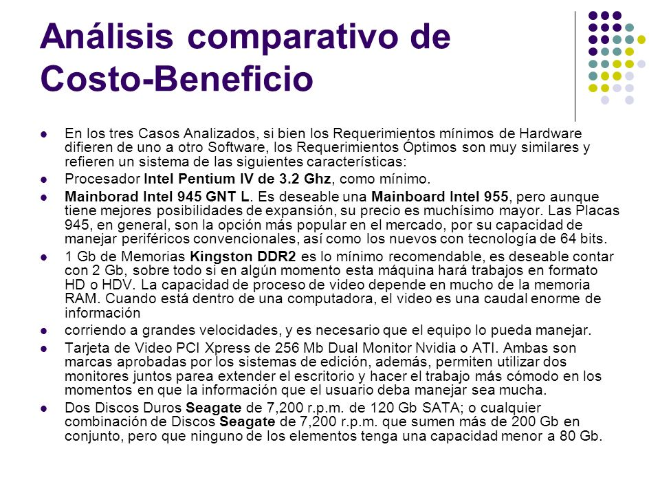Análisis comparativo de Costo-Beneficio