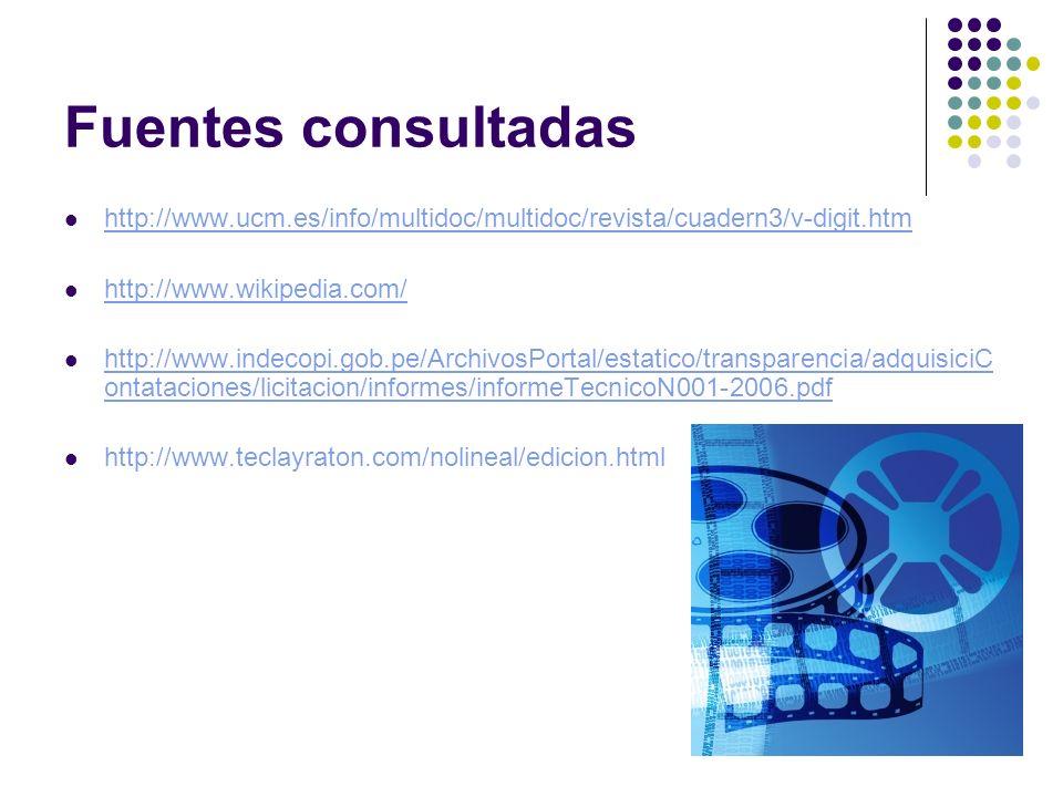 Fuentes consultadas http://www.ucm.es/info/multidoc/multidoc/revista/cuadern3/v-digit.htm. http://www.wikipedia.com/