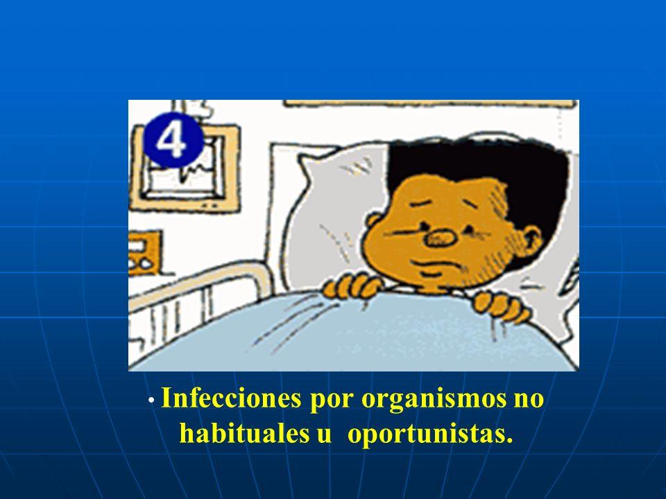 Infecciones por organismos no habituales u oportunistas.