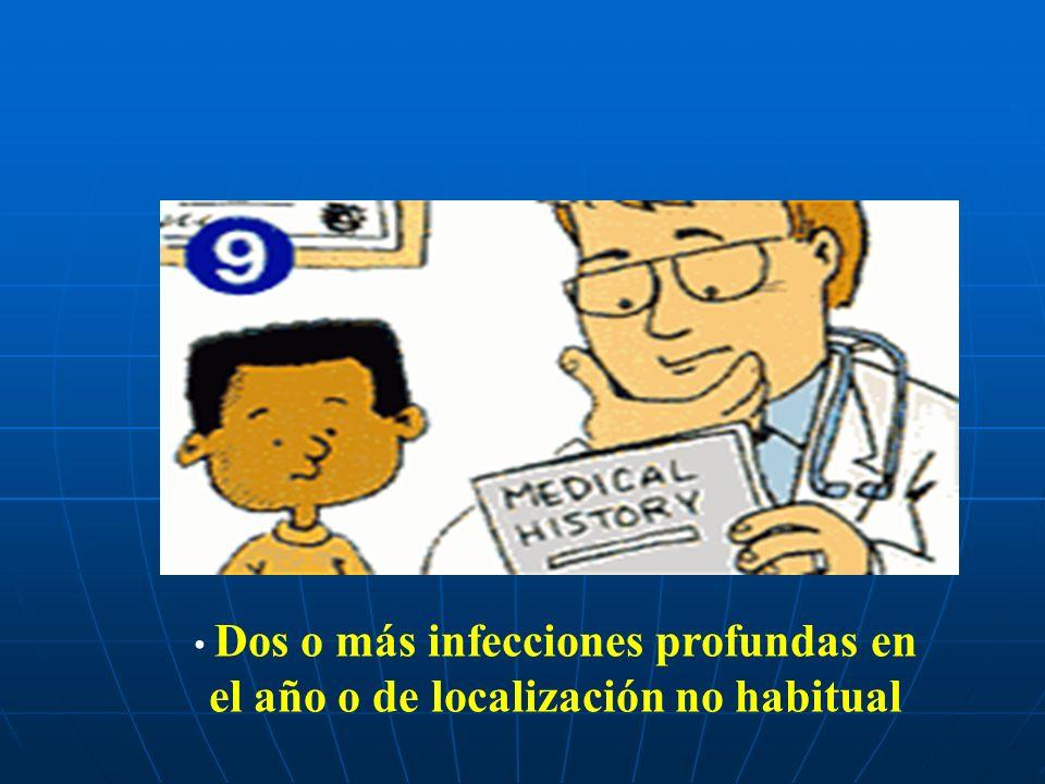 Dos o más infecciones profundas en el año o de localización no habitual