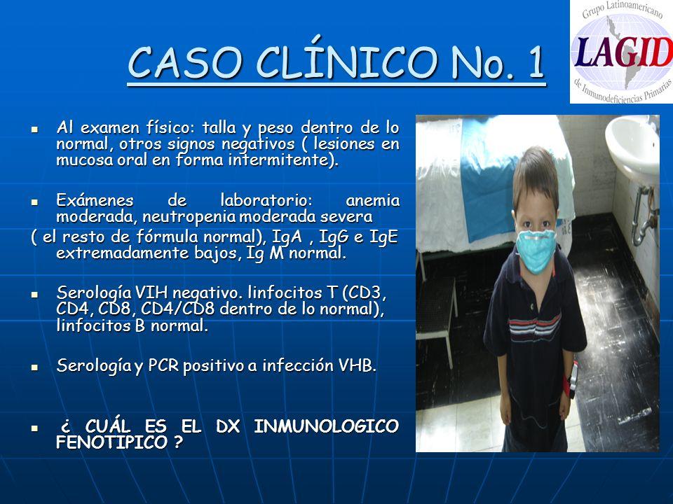 CASO CLÍNICO No. 1 Al examen físico: talla y peso dentro de lo normal, otros signos negativos ( lesiones en mucosa oral en forma intermitente).