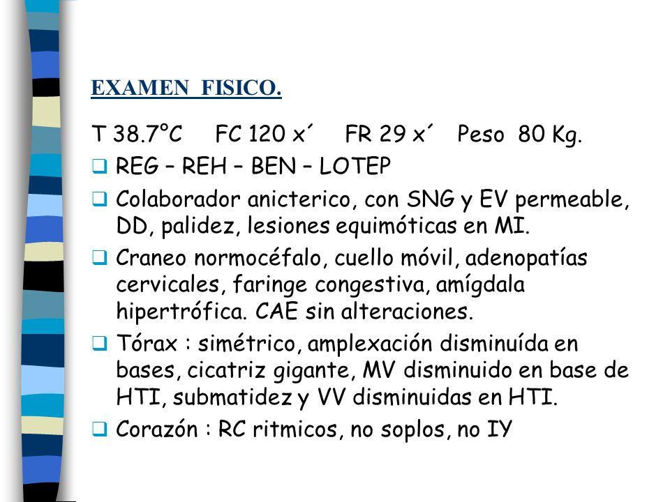 EXAMEN FISICO. T 38.7°C FC 120 x´ FR 29 x´ Peso 80 Kg. REG – REH – BEN – LOTEP.