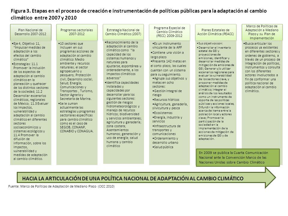 Figura 3. Etapas en el proceso de creación e instrumentación de políticas públicas para la adaptación al cambio climático entre 2007 y 2010