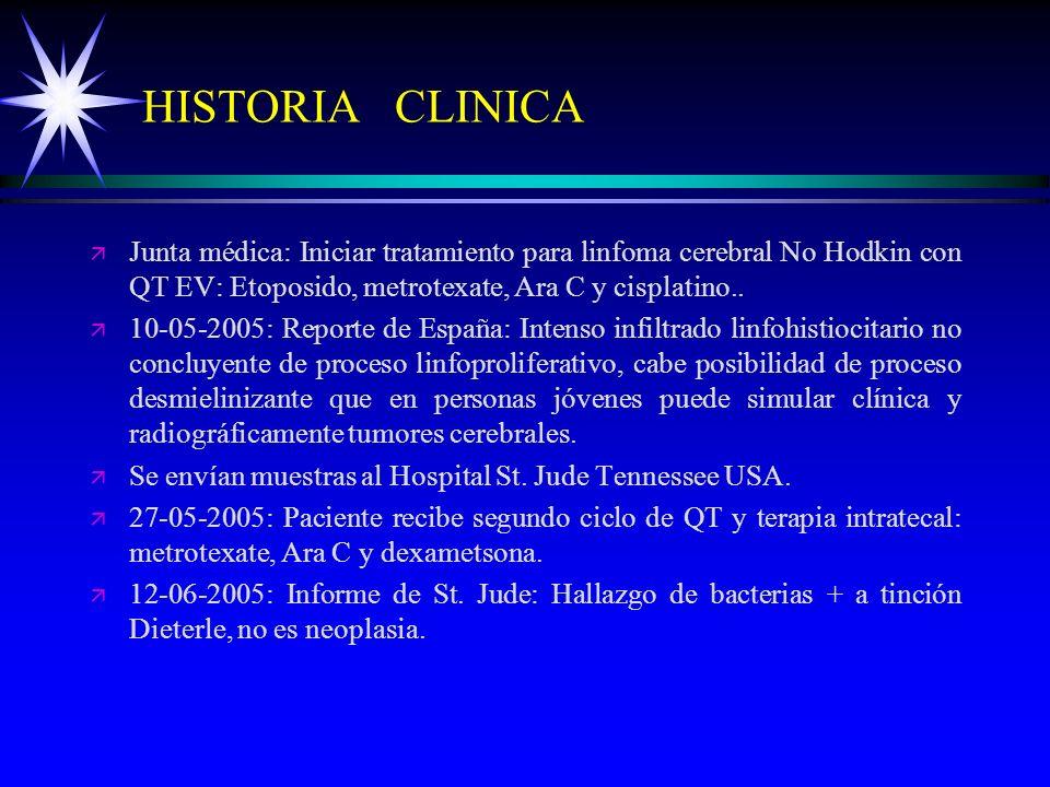 HISTORIA CLINICAJunta médica: Iniciar tratamiento para linfoma cerebral No Hodkin con QT EV: Etoposido, metrotexate, Ara C y cisplatino..