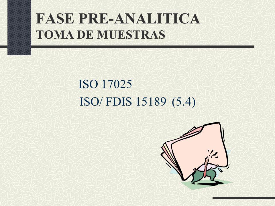 FASE PRE-ANALITICA TOMA DE MUESTRAS