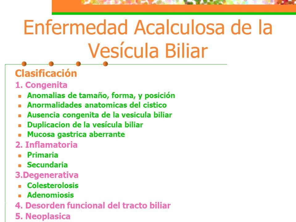 Enfermedad Acalculosa de la Vesícula Biliar