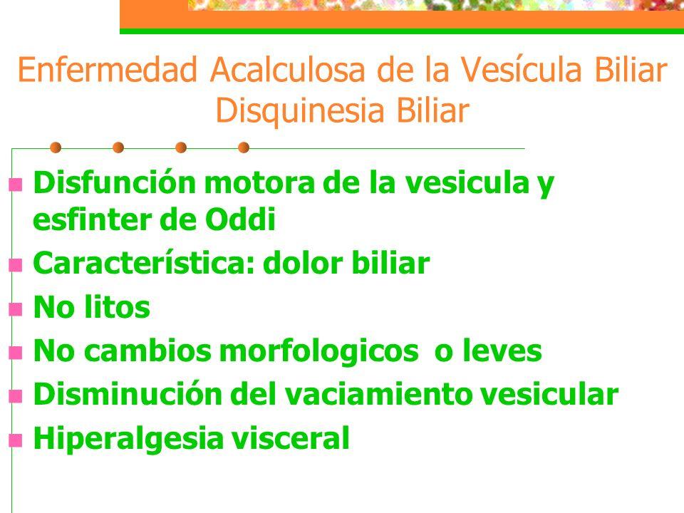 Enfermedad Acalculosa de la Vesícula Biliar Disquinesia Biliar