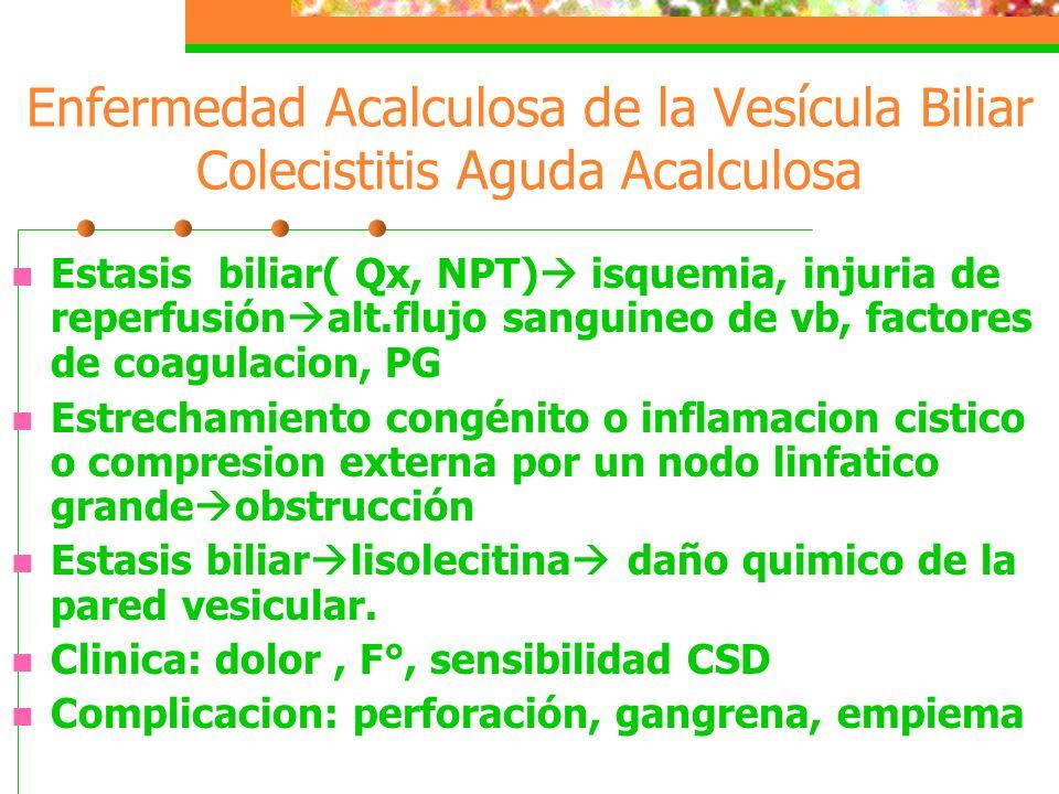 Enfermedad Acalculosa de la Vesícula Biliar Colecistitis Aguda Acalculosa
